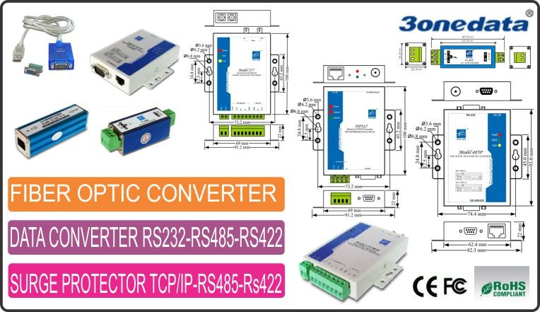 Data Konverter Rs232 RS485 Rs422- Penangkal Petir Rs485-Fiber Optic